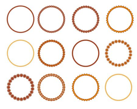 Circle geometric mehendi ornaments.  Artistic vintage wreaths. 12 icons. Decorative Stamp patterns. Illustration