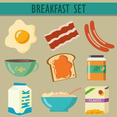 set of 9 icons with breakfast different product food