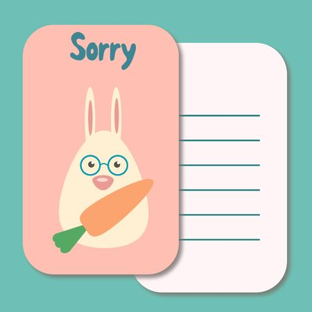 Cute printable illustration sorry card typography design background template 스톡 콘텐츠 - 128740737