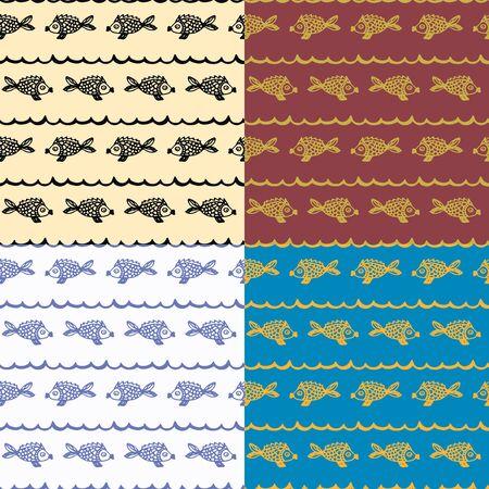 Seamless pattern fish sea doodle 4 types Illusztráció