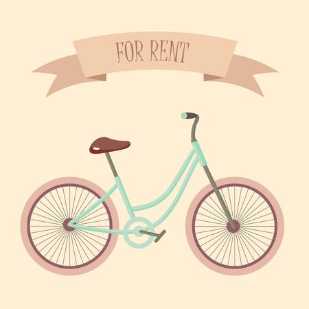 Retro gentle ladies bicycle for rent vector illustration flat design