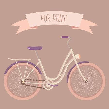 Retro gentle woman bicycle for rent illustration