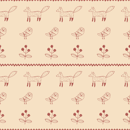 crankle: Childrens ethnic folk seamless pattern with foxes and owls