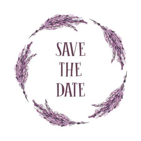 Blumen verzweigen runden Rahmen. Vektorillustration des handgezeichneten natürlichen Kranzes für Einladungskarten, speichern Sie das Datum, Hochzeitskartendesign.