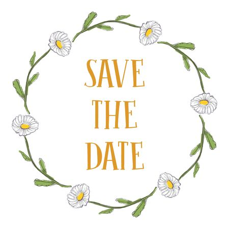 Flowers chamomile round frame. Vector illustration of hand drawn natural wreath for invitation cards, save the date, wedding card design.