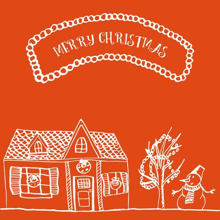 Christmas card with a house, a tree and a snowman. Hand drawn illustration on a red background