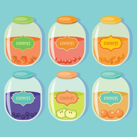 Set of colored jars with delicious homemade compote. Cherry, strawberry , blueberry , orange, apple , peach Ilustração