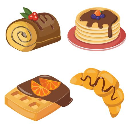 Delicious, sweets and fresh pastry set of croissant,  Swiss roll , puncake and waffles with chokolate cream, isolated vector illustration Illustration