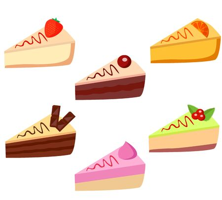 Set 6 pieces of cake: strawberry, orange, cherry, cream, chocolate, mint. Illustration