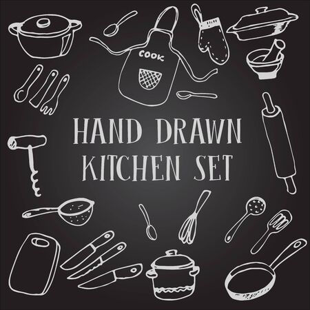 Set of chalk of drawing kitchen tableware on the chalkboard Stock Illustratie