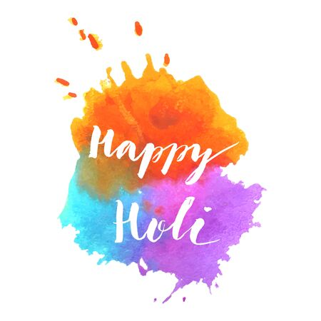 Happy Holi spring festival of colors greeting vector background with watercolor splashed colorful Holi powder paint clouds and sample text. Blue, orange, pink and violet powder paint