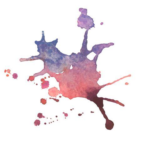 expressive watercolor spot blotch with splashes mix different color Vektorgrafik