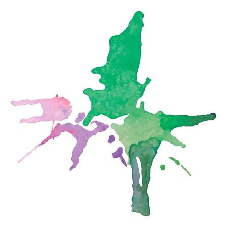 expressive watercolor stain with splashes of pink green color illustration