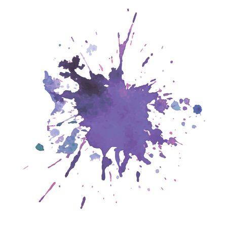 Mancha de acuarela expresiva con salpicaduras de color violeta ilustración