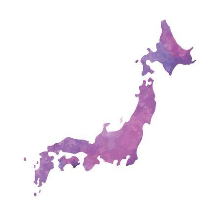 Mapa de acuarela dibujada a mano de Japón ilustración aislada Ilustración de vector