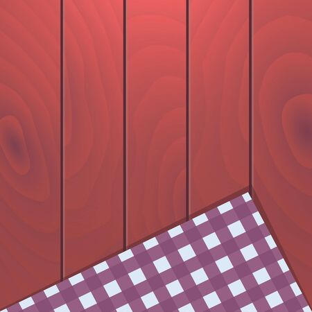 Wooden background with plaid tablecloth Illustration