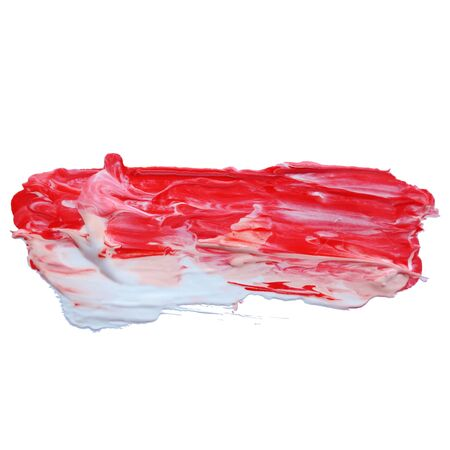 Vector grunge red brush strokes acrylic or oil paint isolated on white background