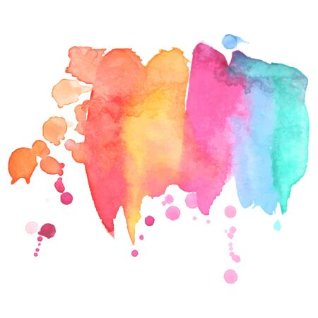 Colorful abstract watercolor stain with splashes and spatters. Modern creative background for trendy design. Vector illustration.