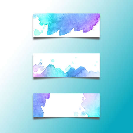 Set of abstract header banners with watercolors stains vector