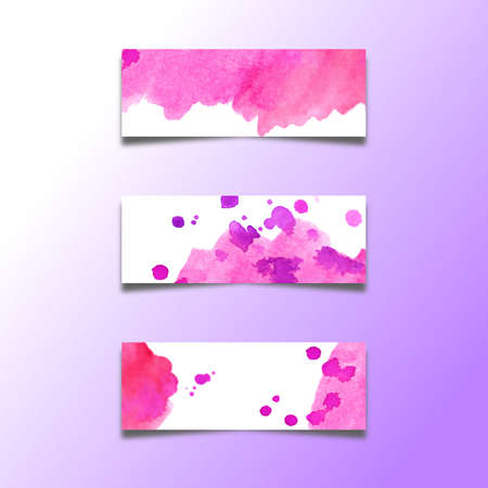 Set of abstract header banners with watercolors stains Eps10 vector
