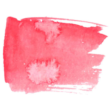 Red vector paper banner label tag with brush stroke hand painted watercolor stain background.