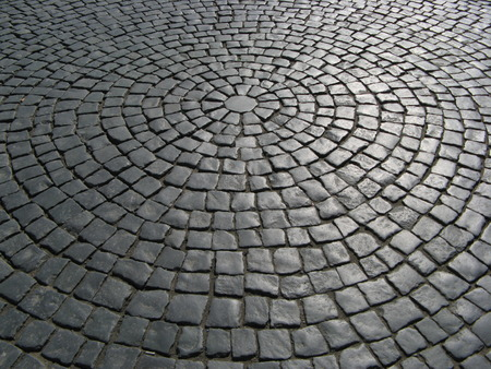 the road surface: Old Brick Road Surface Shaped in a Circle  Stock Photo