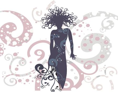 Vektor Zeichnung - Frau in Fashion dress