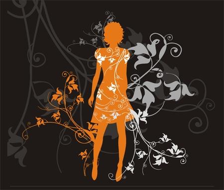 Hintergrund mit weiblichen silouhette