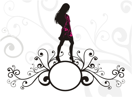 Banner mit weiblichen silouhette
