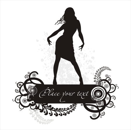Banner de las mujeres y silouette patr�n floral