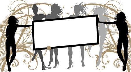 urban style: Girls with banner urban style Illustration