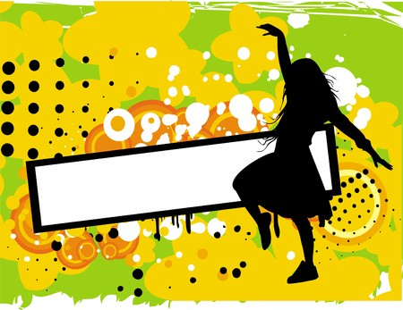 urban style: Girl with banner urban style Illustration