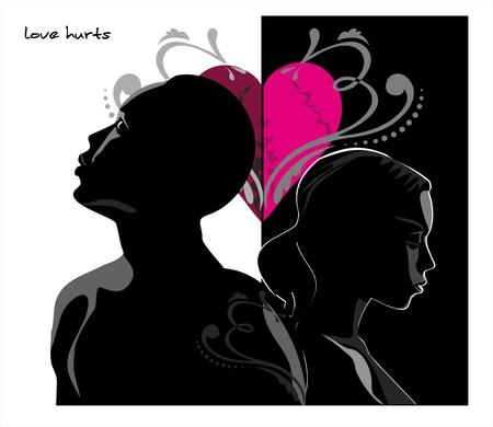Dibujo vectorial del joven con el coraz�n roto y el resumen patr�n