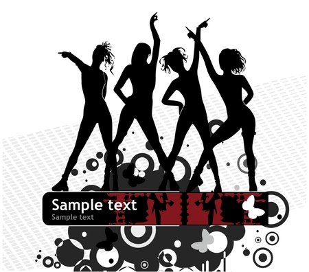Vector background with female silhouettes Stock Vector - 4472723