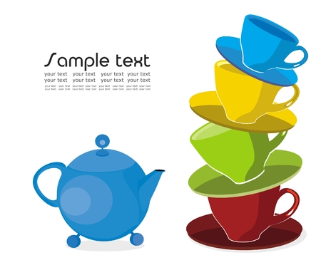 Vector drawing of funny cups tower and teapot