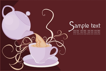 Vector drawing of cup and teapot  Illustration