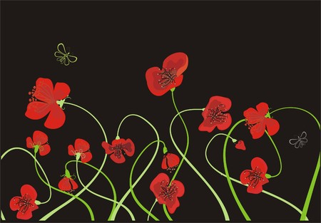 Poppy meadow Vector