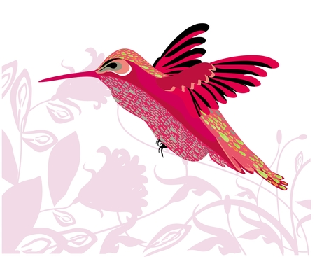 Background with flowers and hummingbird