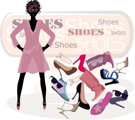 Vector illustration of the fashion girl on shopping