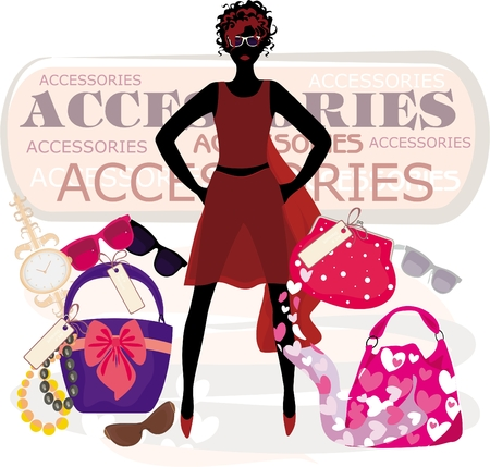 accesory: Vector illustration of the fashion girl on shopping