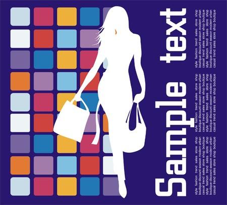 fashion shopping: Compras de moda  Vectores
