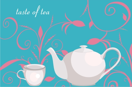 Background with floral ornament, teapot and cup Vector