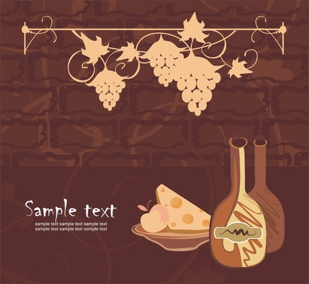 Background with wine, cheese and winegrapes Vector