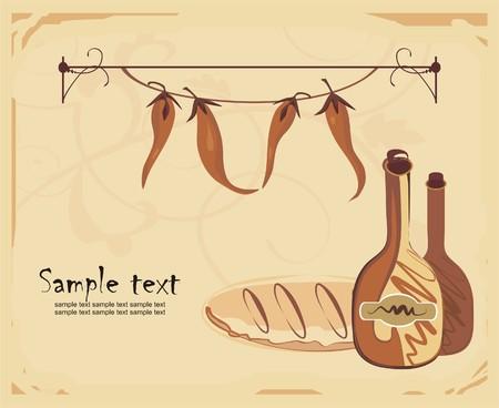 pane e vino: Sfondo con vino, pane e peperoncino pepe