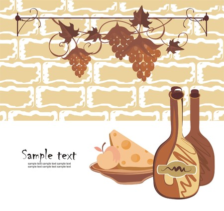 Background with wine and cheese in reto style Illustration