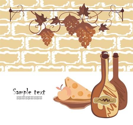 Fondo con vino y queso en estilo de reto  Vectores