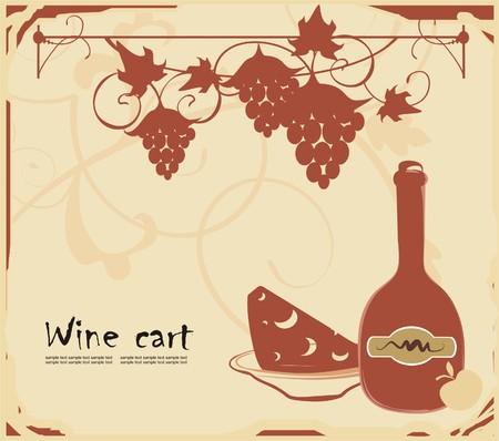 Fondo con vino, queso y winegrapes Vectores
