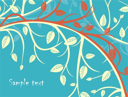 square root: Seasonal background with tree branches Illustration