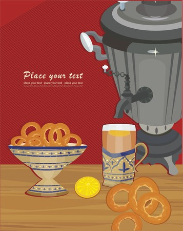Russian tea tradition Vector