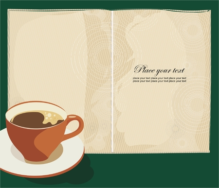 paper plates: menu book with cup of coffee